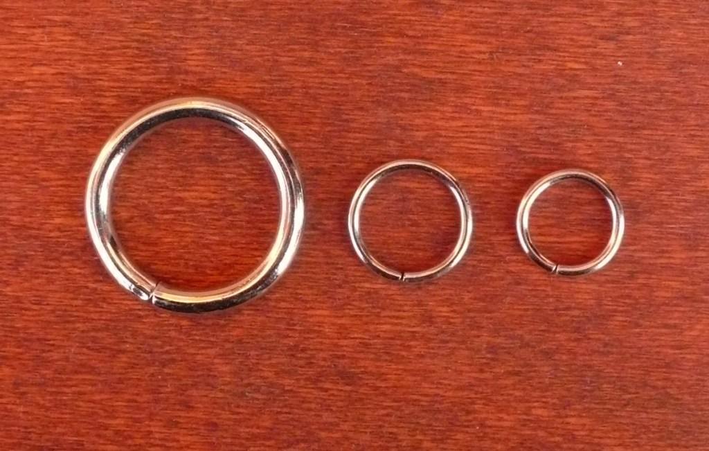 Anelli da Cm.1,5 - 1,8- 2,0- 3,0   Colore Nichel.